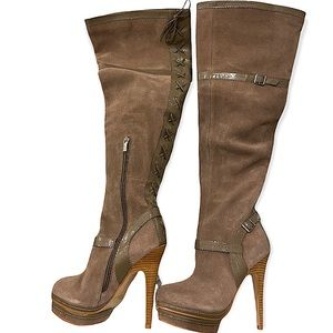 Colin Stuart Taupe Lace up Stiletto Knee Boots